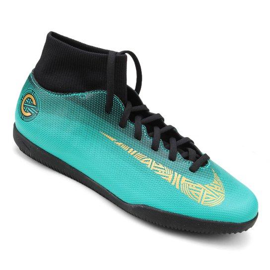 3f672415bfc Chuteira Futsal Nike Mercurial Superfly 6 Club CR7 - Dourado e Preto ...
