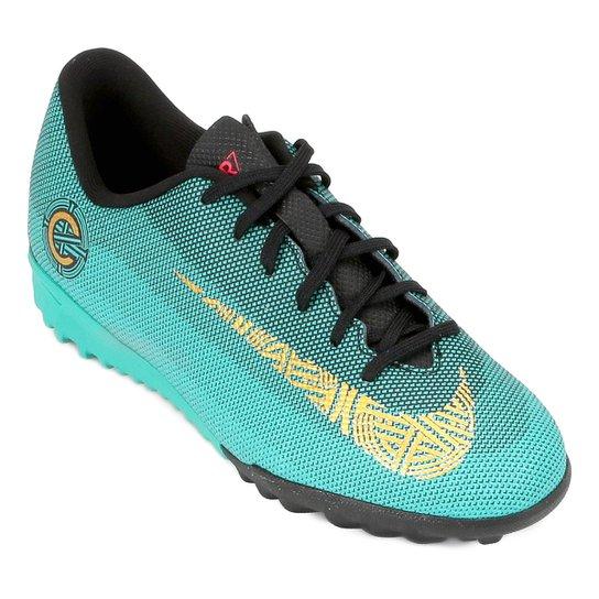 Chuteira Society Infantil Nike Mercurial Vapor 12 Academy GS CR7 TF - Verde  água 4a5808ada673a