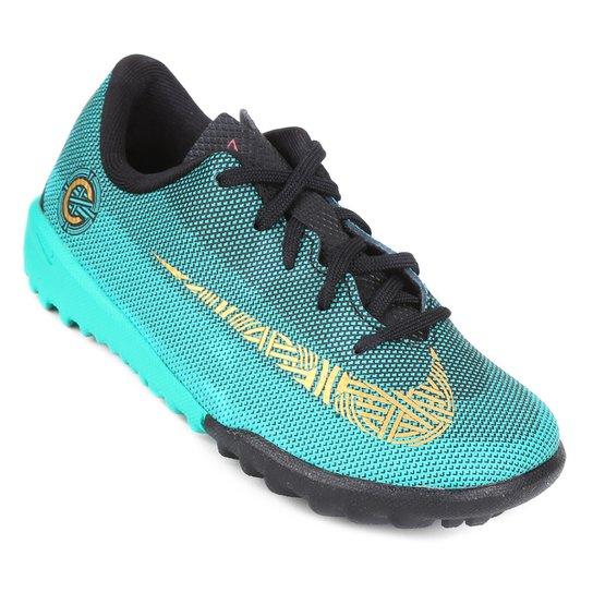 9d3caf7ee5e4f Chuteira Society Infantil Nike Vapor 12 Academy OS CR7 TF - Dourado+Preto