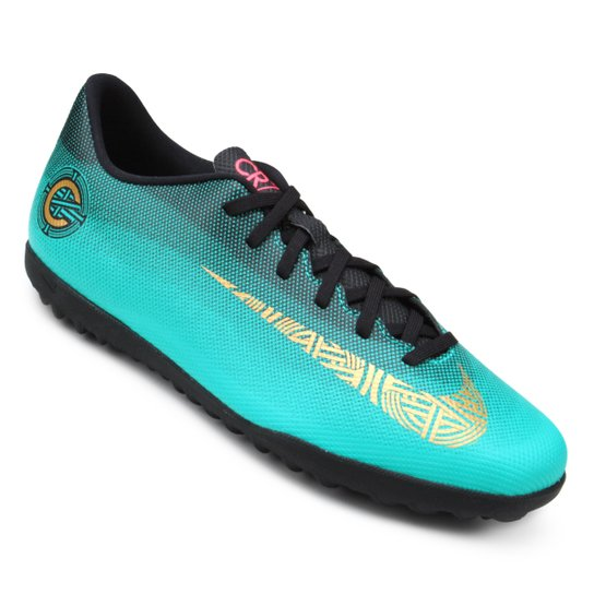 a0e1fc1898 Chuteira Society Nike Mercurial Vapor 12 Club CR7 TF - Verde água