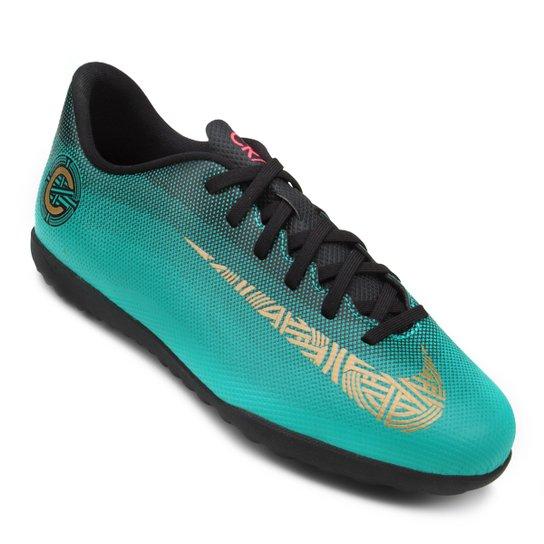 Chuteira Society Infantil Nike Mercurial Vapor 12 Club GS CR7 TF - Verde  água 621ea31b02b42