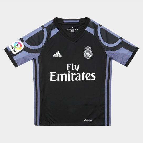 Camisa Real Madrid Infantil Third 16 17 s nº Torcedor Adidas - Preto+ 8486055e83607