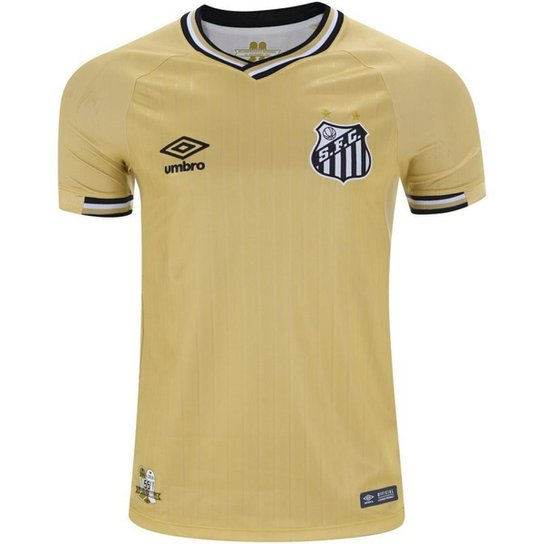 b84d586607 Camisa Umbro Santos 2018 Masculina - Dourado e Preto - Compre Agora ...