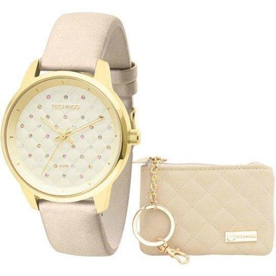 f42c7e26e7d Kit Relógio Technos Feminino Fashion Trend 2035Lxv K2X - Bege+Dourado