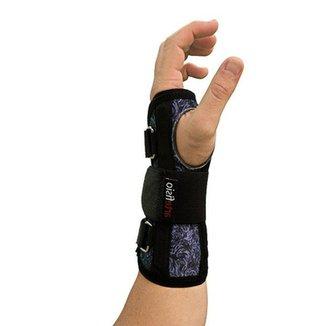 14f72dce6d3e3 Munhequeira ArteFisio Mão Direita Tiras Ajustáveis Estampa Abstrata Preto e  Azul P