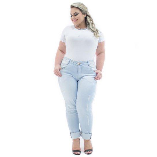 5f4aad683 Calça Confidencial Extra Jeans Cigarrete Destroyed Cintura Alta Plus Size  Feminina - Jeans Claro