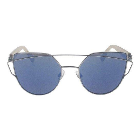 a76b72a8c9ca2 Óculos de Sol Khatto Cat Bamboo Feminino - Prata e Azul - Compre ...