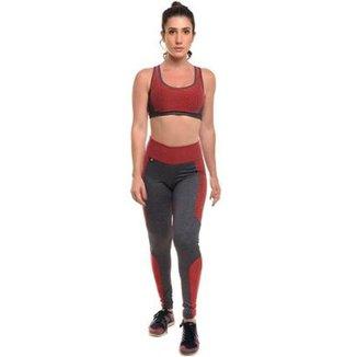 612f42ae3 Conjunto Glow Fiction Rubi Legging Top Com Proteção Solar Sandy Fitness -  Feminino