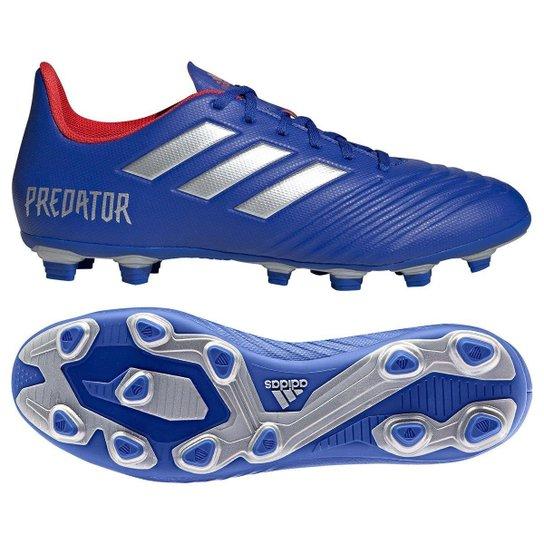 3ded457242 Chuteira Campo Adidas Predator 19 4 FG - Azul e Prata - Compre Agora ...