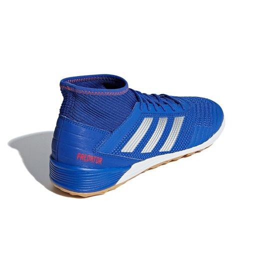 cdbecdd12b Chuteira Futsal Adidas Predator 19 3 IN - Azul e Prata | Netshoes