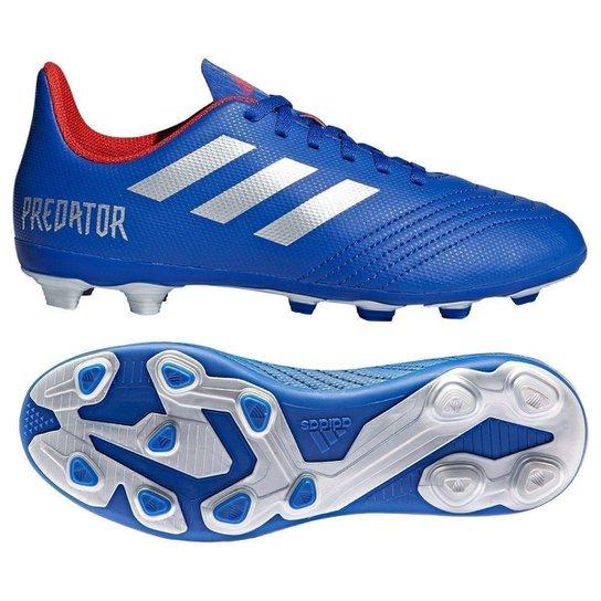 fe0c9611839 Chuteira Campo Infantil Adidas Predator 19 4 FG - Azul e Prata ...