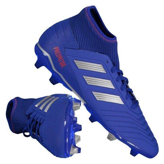 fc0c20f6e7 Chuteira Campo Adidas Predator 19 3 FG - Azul e Prata | Netshoes