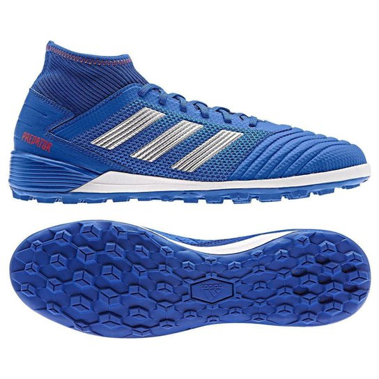 Chuteira Society Adidas Predator 19 3 TF - Azul e Prata - Compre ... bea26f0fca7be