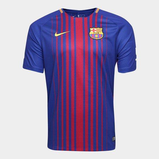 fdbdbaab73 Camisa Barcelona Home 17 18 s nº Torcedor Nike Masculina - Azul e ...