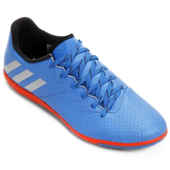0656b14bbeb28 Chuteira Futsal Adidas Messi 16.3 IN - Azul e Prata | Netshoes