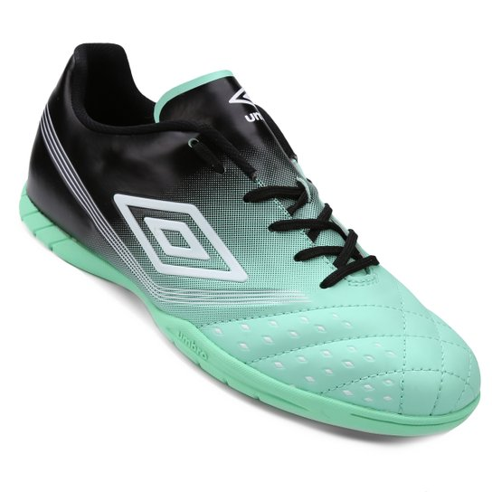 ... Chuteira Futsal Umbro Fifty Masculina Preto e Verde gua Compre dbac2e0fee378
