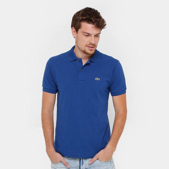 7bf64a2e5ecba Camisa Polo Lacoste Original Fit Masculina - Azul e Branco - Compre ...