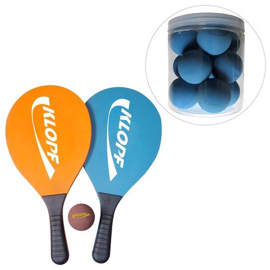 ba8cdfd4cd Kit Jogo de Frescobol Klopf + Pote de bolas para Frescobol Klopf -  Laranja+Azul