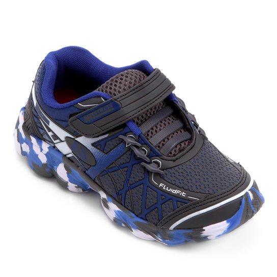 Tênis Infantil No Stress Running Velcro - Grafite e Azul - Compre ... ce9d27c38b48a