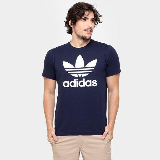 39f16d5da6ab6 Camiseta Adidas Originals Trefoil - Marinho+Branco