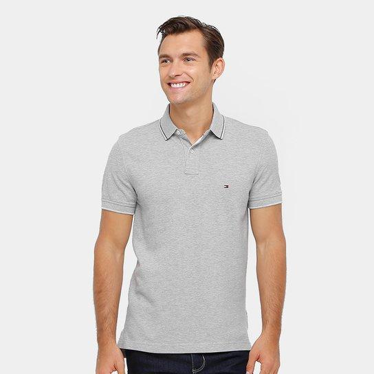 Camisa Polo Tommy Hilfiger Piquet Regular Fit Frisos Masculina - Mescla 9ec6a9721f67e