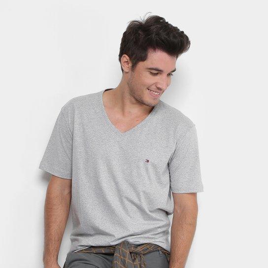 6fb27b0e78 Camiseta Tommy Hilfiger Gola V Básica Masculina - Mescla