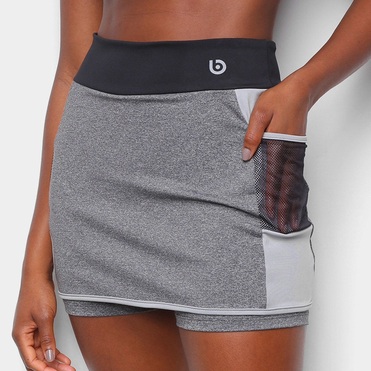 Short Saia Área Sports Bang Bolso Tela