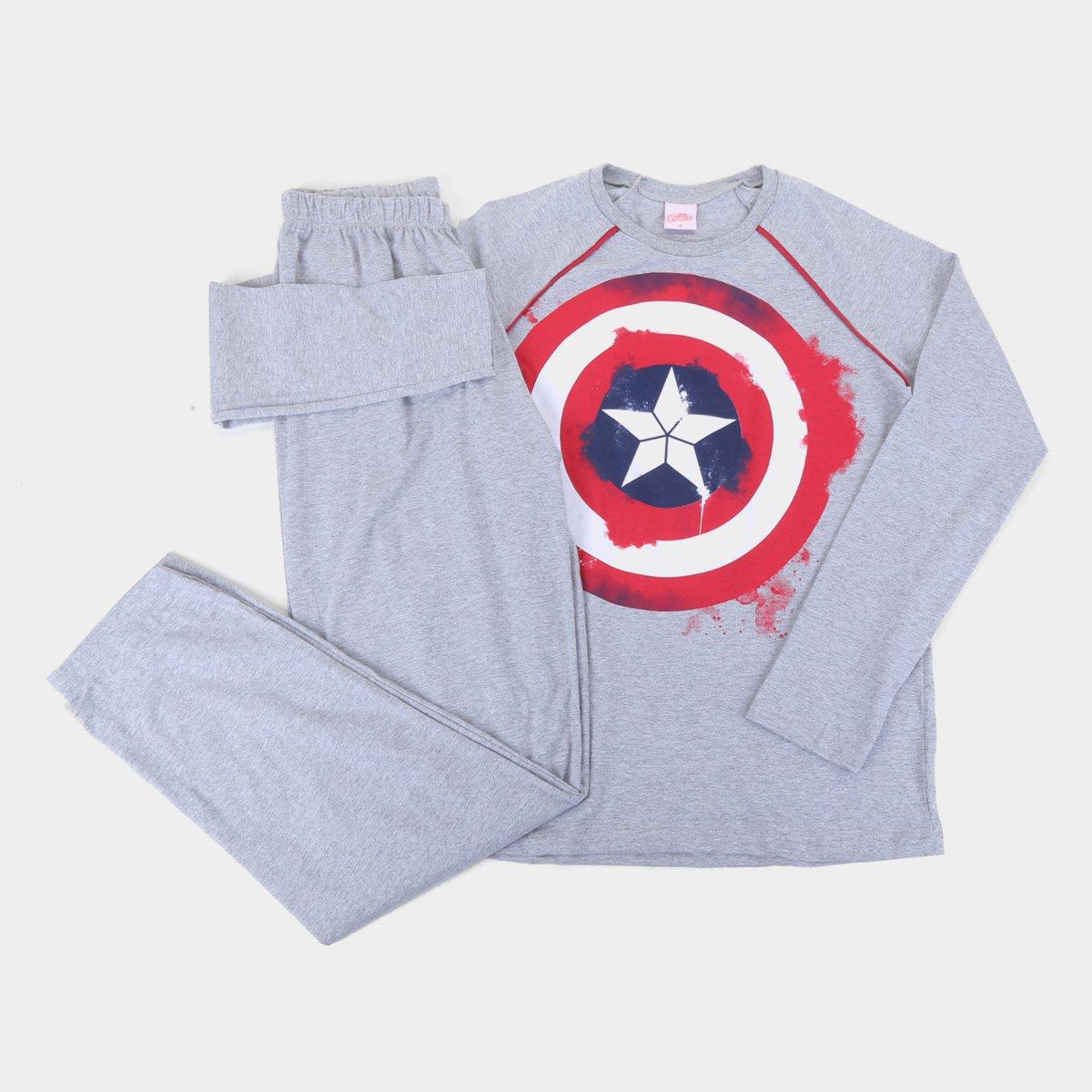 Pijama Longo Juvenil Evanilda Marvel Capitão América Masculino
