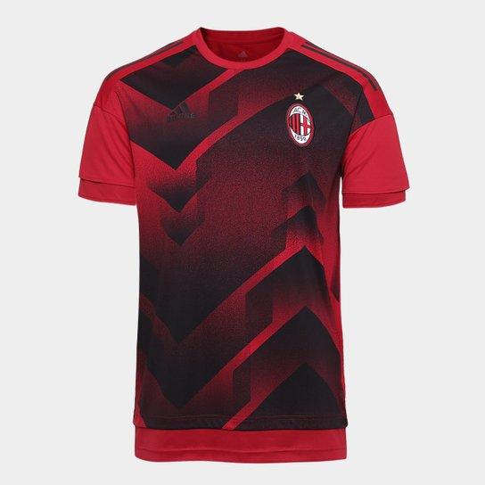 a88c743ce1 Camisa Milan Pré Jogo 17 18 Adidas Masculina - Vermelho Escuro+Preto