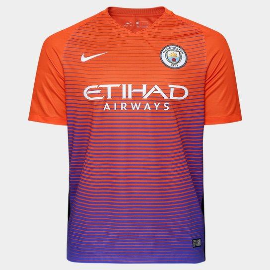 69f2fe9738 Camisa Manchester City Third 16/17 s/nº Torcedor Nike Masculina - Laranja+