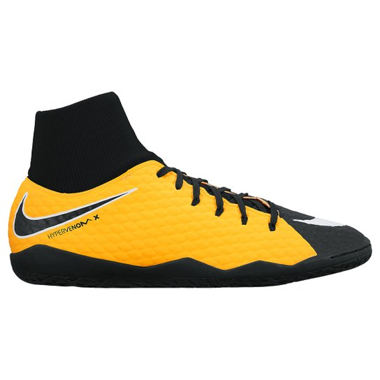 Chuteira Futsal Nike Hypervenom Phelon 3 DF IC - Laranja e Branco ... acf173db30b34