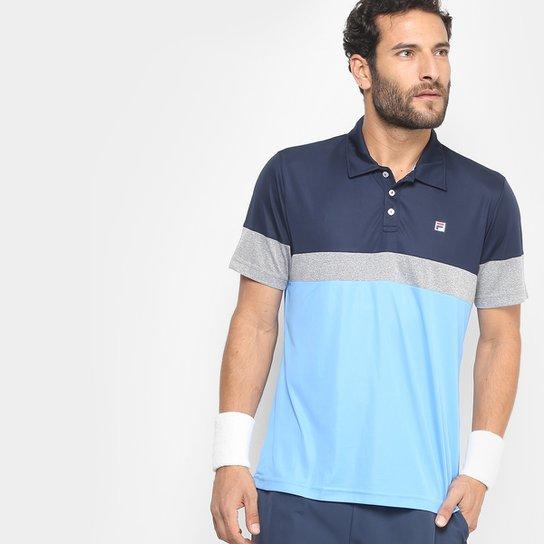 43df6c1f7b Camisa Polo Fila Block Melange Masculina - Marinho e Azul - Compre ...