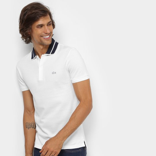 0129103f7cc13 Camisa Polo Lacoste Piquet Slim Fit Fancy Contraste Masculina - Branco