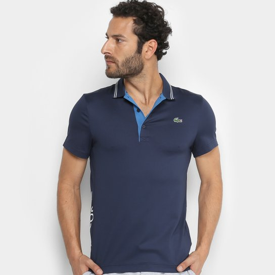 Camisa Polo Lacoste Golf Sport Strech Masculina - Marinho e Azul ... ca3b3d33e85de
