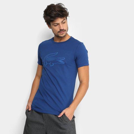 Camiseta Lacoste Manga Curta Masculina - Marinho e Azul - Compre ... 2dca65329b1