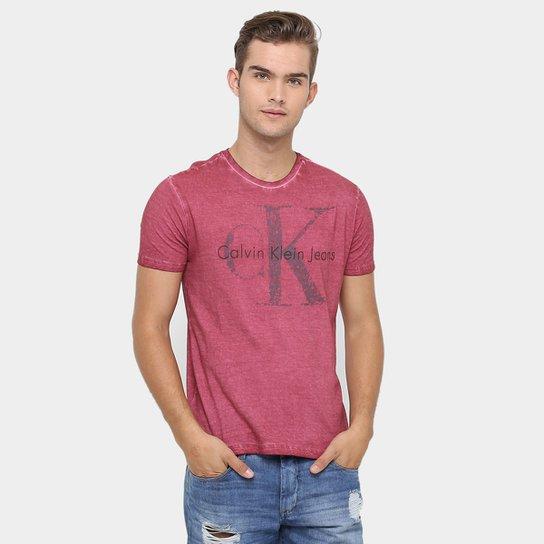 Camiseta Calvin Klein Gola Careca Tinturada Logo Relevo - Compre ... 69d8a984e9