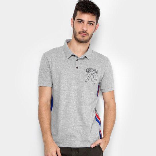 c6a0e67c7b8a6 Camisa Polo Calvin Klein Piquet Listra Lateral Masculina - Mescla ...