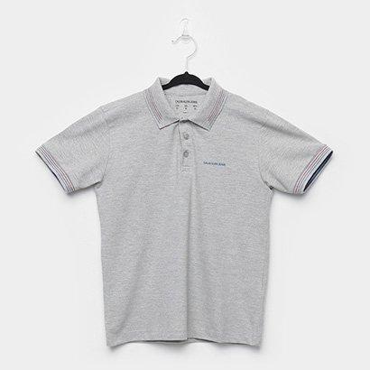 Camisa Polo Infantil Calvin Klein Friso Triplo Masculina