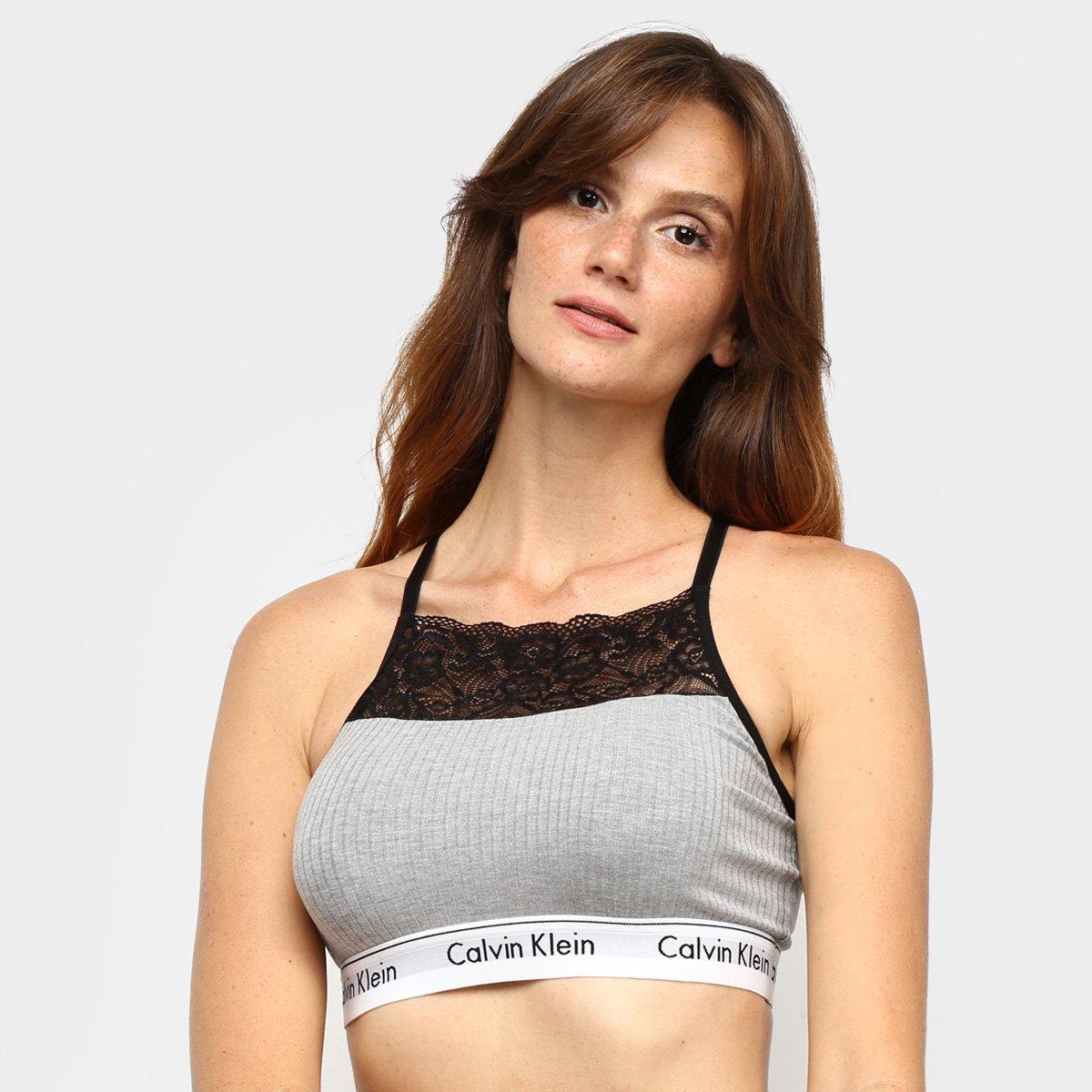 Top Calvin Klein Canelado Renda Modern Cotton Lace Feminino