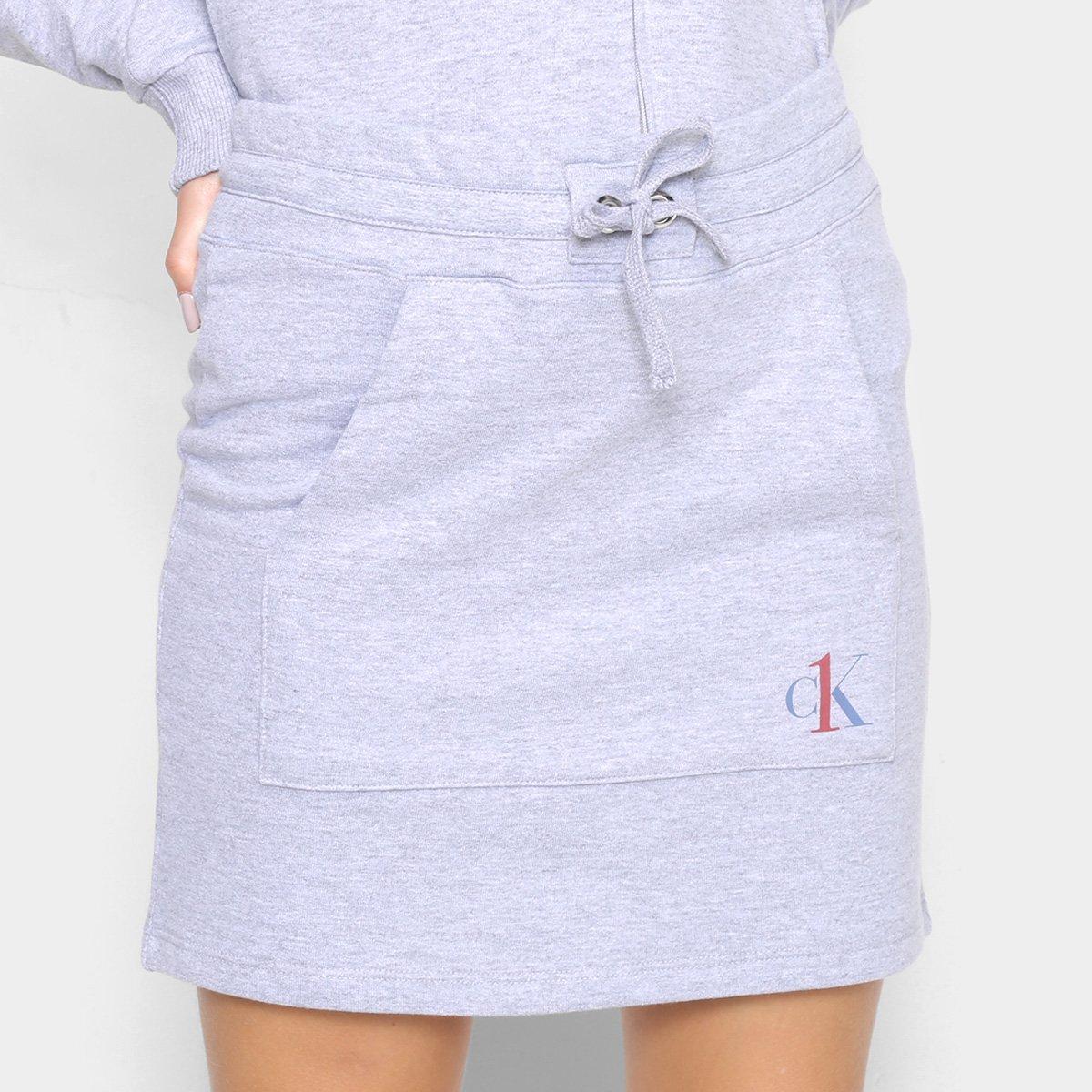 Saia Midi Moletom Calvin Klein Bolso Canguru Feminina
