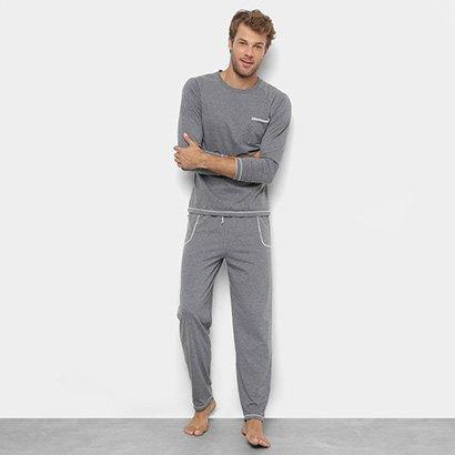 Pijama Camiseta Manga Longa e Calça Lupo Masculino