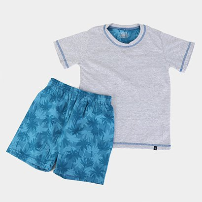 Pijama Infantil Lupo KM Folhagem Masculino