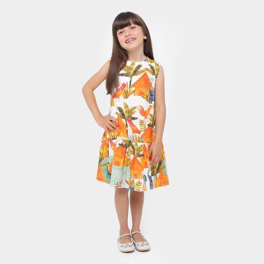 460ea9e1b Vestido Infantil Fábula Evasê Curto Laço - Colorido