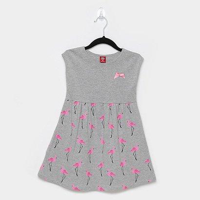 Vestido Infantil Bee Loop Cavado Evasê Flamingos Lacinho