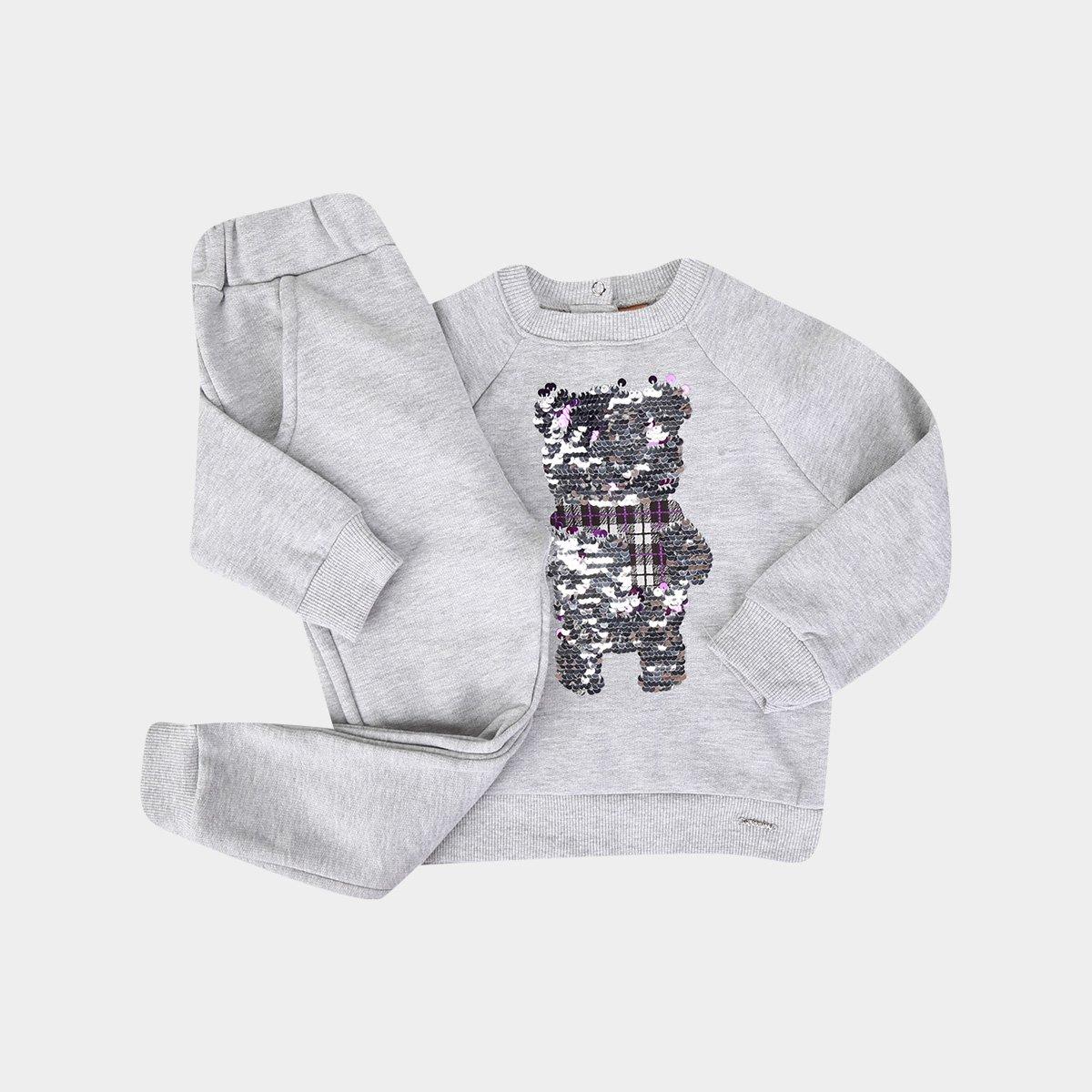 Conjunto Infantil Up Baby Moletom Paetê Reversível Blusa + Calça