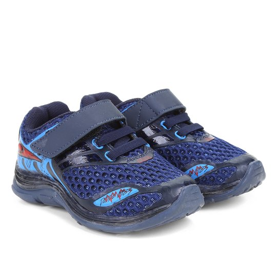 096f262db Tênis Infantil Klin Sem Cadarço Velcro Baby Light Masculino - Marinho+Azul