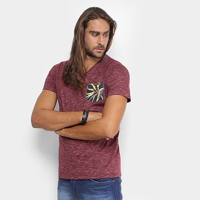 Camiseta Colcci Gola V Mescla Bolso Floral Masculina
