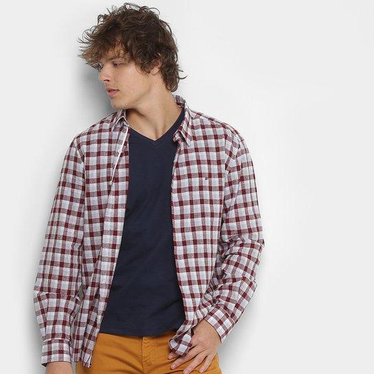 b202223cc7592 Camisa Xadrez Ellus Masculina - Bordô - Compre Agora