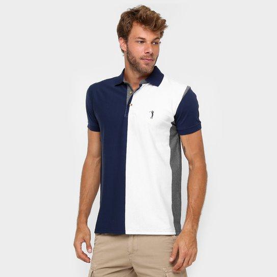 2b28468848 Camisa Polo Aleatory Malha Listra Vertical - Marinho+Branco