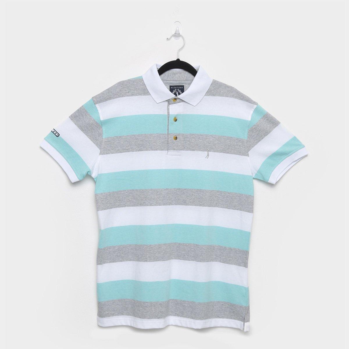Camisa Polo Aleatory Fio Tinto Listras Masculina